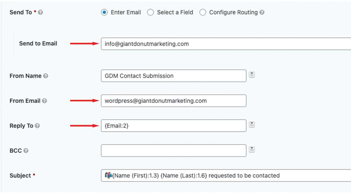 Contact Form - Send To/From